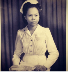 My grandmother, Rosalina, a 1st Sgt in the US Army during WWII, before she ever became a citizen. She met my grandfather while he was a guerilla fighter during the war.